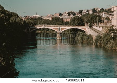 Bridge Over Tiber River At Summer Morning. Rome, Italy