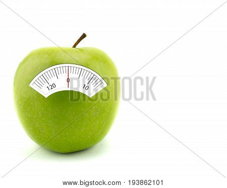 Apple with scales weight isolated on white background. healthcare concept
