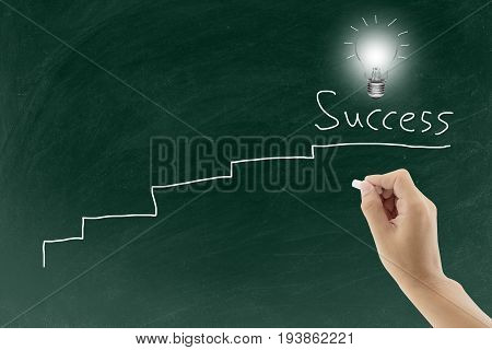 Hand Drawing  Ladder With Chalk For Success And Light Blub Showing Genius Idea And Intelligence Busi