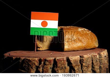 Niger Flag On A Stump With Bread Isolated