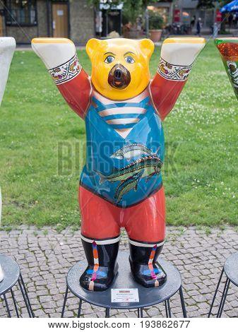 BERLIN GERMANY - JULY 3 2017: United Buddy Bears: Azerbaijan Bear At Wittenbergplatz Square In Berlin