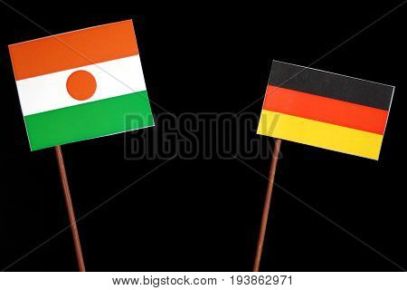 Niger Flag With German Flag Isolated On Black Background