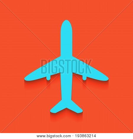 Airplane sign illustration. Vector. Whitish icon on brick wall as background.