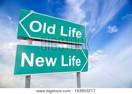New life old life road sign on sky background business concept