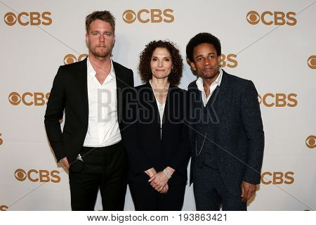 (L-R) Actors Jake McDorman, Mary Elizabeth Mastrantonio and Hill Harper attend the 2015 CBS Upfront at The Tent at Lincoln Center on May 13, 2015 in New York City.