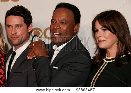 (L-R) Actors Benjamin Hollingsworth, William Allen Young and Marcia Gay Harden attend the 2015 CBS Upfront at The Tent at Lincoln Center on May 13, 2015 in New York City.