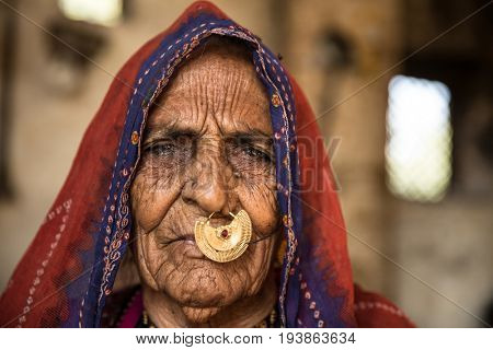 Rajasthani woman at a small village in India