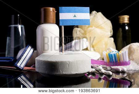 Nicaraguan Flag In The Soap With All The Products For The People Hygiene