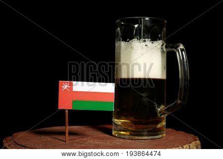 Omani Flag With Beer Mug Isolated On Black Background
