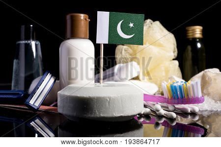 Pakistani Flag In The Soap With All The Products For The People Hygiene