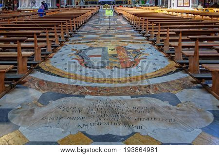 Beautiful marble floor in the nave of the Church of Gesù Nuovo - Naples, Campania, Italy, 29 October 2011