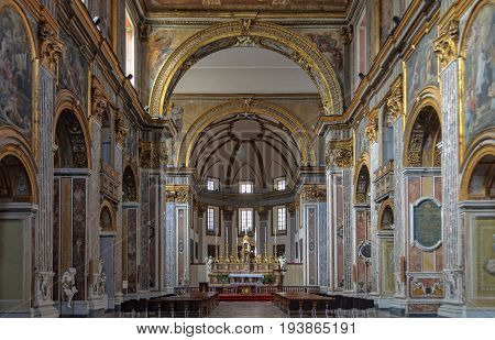Nave and main altar of the Basilica of San Paolo Maggiore - Naples, Campania, Italy, 29 October 2011