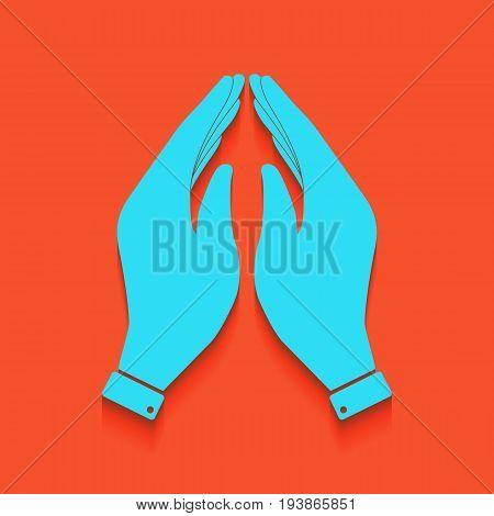 Hand icon illustration. Prayer symbol. Vector. Whitish icon on brick wall as background.
