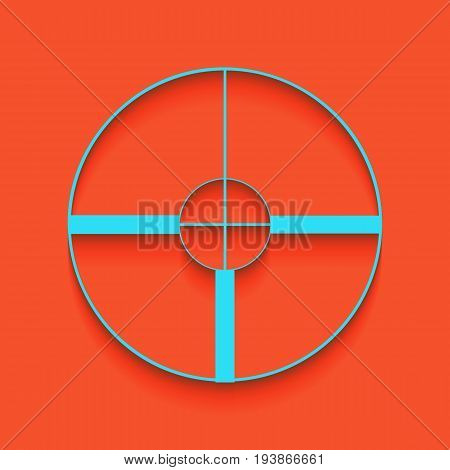 Sight sign illustration. Vector. Whitish icon on brick wall as background.