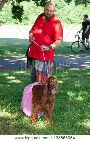 SOUTHAMPTON UK - July 2 2017: Race for Life women men and dogs run and walk to raise money for Cancer Research charity in Southampton UK. Dressed up man with dog in a tutu.