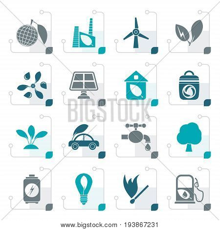 Stylized Green, Environment and ecology Icons - vector icon set