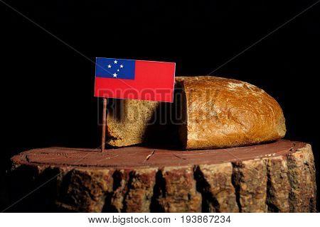 Samoa Flag On A Stump With Bread Isolated