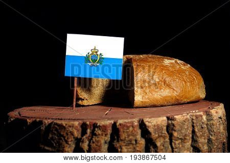 San Marino Flag On A Stump With Bread Isolated