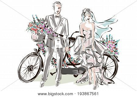 Wedding Day Invitation With Sweet Couple Near The Tandem Bicycle, Vector