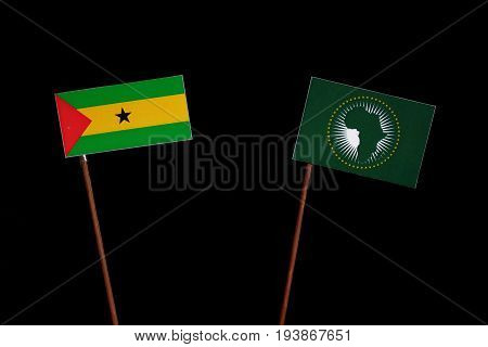 Sao Tome And Principe Flag With African Union Flag Isolated On Black Background