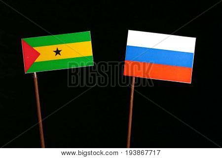 Sao Tome And Principe Flag With Russian Flag Isolated On Black Background