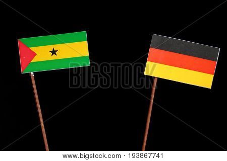Sao Tome And Principe Flag With German Flag Isolated On Black Background
