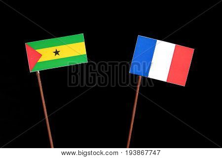Sao Tome And Principe Flag With French Flag Isolated On Black Background