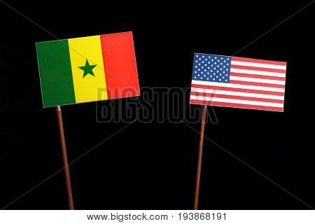 Senegal Flag With Usa Flag Isolated On Black Background