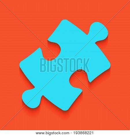 Puzzle piece sign. Vector. Whitish icon on brick wall as background.