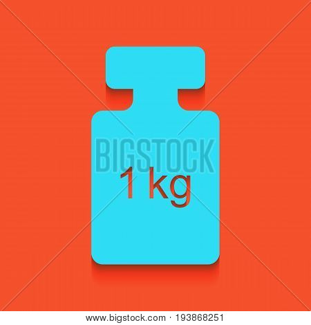 Weight simple sign. Vector. Whitish icon on brick wall as background.