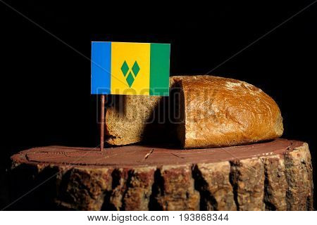 Saint Vincent And Grenadines Flag On A Stump With Bread Isolated