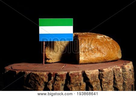 Sierra Leone Flag On A Stump With Bread Isolated