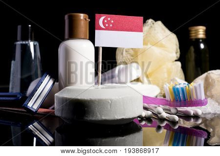Singaporean Flag In The Soap With All The Products For The People Hygiene