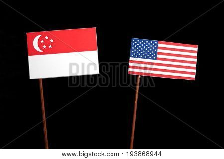 Singaporean Flag With Usa Flag Isolated On Black Background