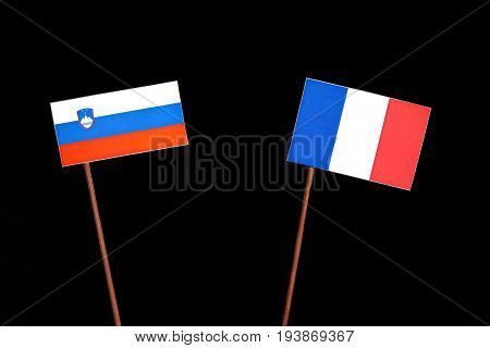 Slovenian Flag With French Flag Isolated On Black Background
