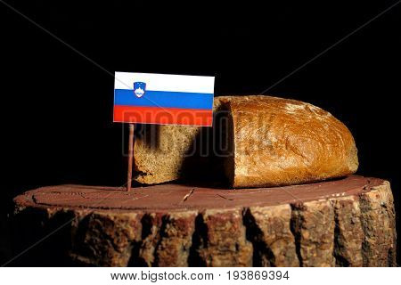 Slovenian Flag On A Stump With Bread Isolated
