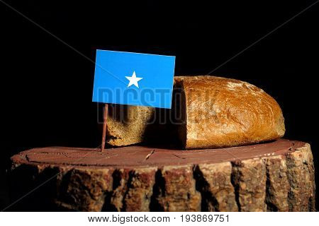 Somalian Flag On A Stump With Bread Isolated