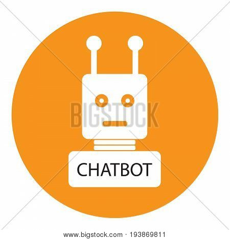 chatbot vector icon on orange and white background