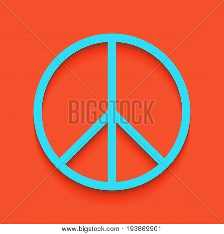 Peace sign illustration. Vector. Whitish icon on brick wall as background.