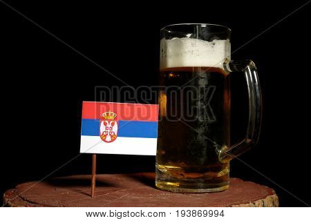 Serbian Flag With Beer Mug Isolated On Black Background