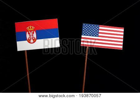 Serbian Flag With Usa Flag Isolated On Black Background
