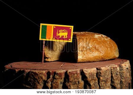 Sri Lankan Flag On A Stump With Bread Isolated
