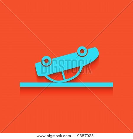 Crashed Car sign. Vector. Whitish icon on brick wall as background.