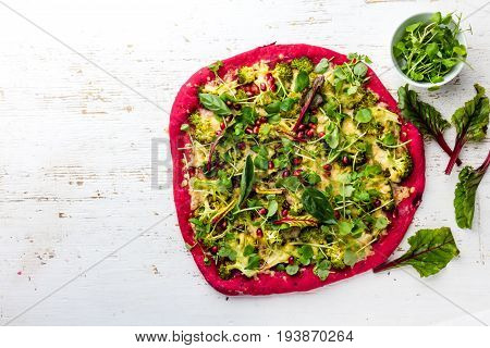 Purple Beetroot Dough, Vegetables And Sprouis Pizza, Healthy Fast Food