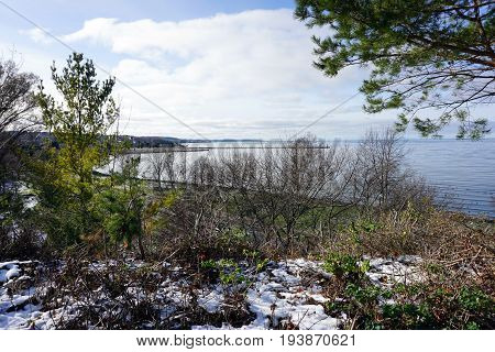 A view of the Petoskey harbor, and Little Traverse Bay, from Sunset Park, in Petoskey, Michigan, during November.