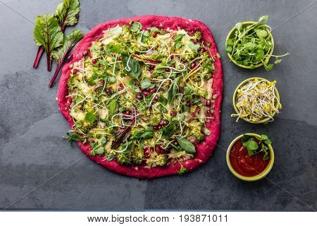 Purple Beetroot Dough, Vegetables And Sprouis Pizza, Healthy Fast Food On Slate