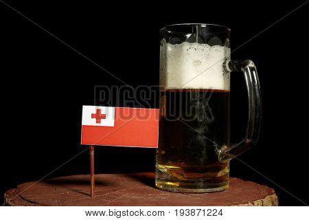 Tongan Flag With Beer Mug Isolated On Black Background