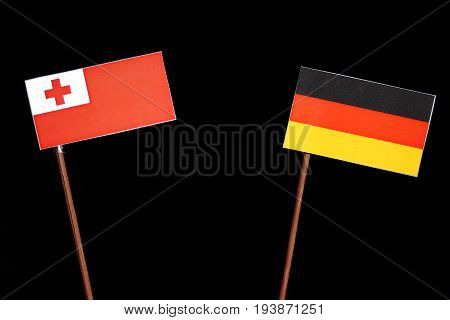 Tongan Flag With German Flag Isolated On Black Background