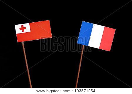 Tongan Flag With French Flag Isolated On Black Background