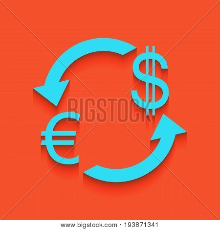 Currency exchange sign. Euro and Dollar. Vector. Whitish icon on brick wall as background.